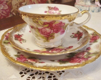 Vintage Cup Saucer Dessert Plate Trio Ornately Gilded Pink Roses Royal Sealy Stunning