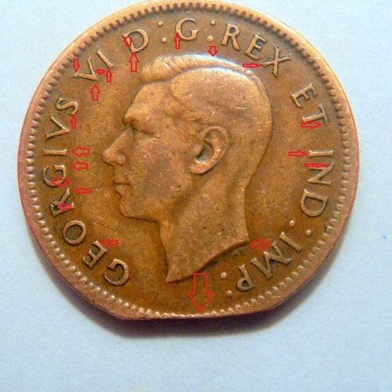1940 Canadian Penny 1 Cent Error Clip Missing Rim By
