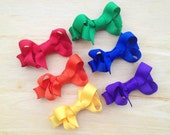 Set of small rainbow colored hair bows - baby bows, small bows, toddler bows, rainbow bows