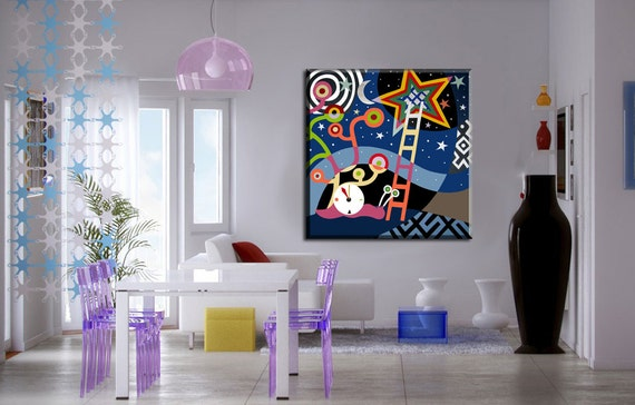 """Visual Philosophy on Canvas, Motivational Art, Abstract  Philosophical Painting on Canvas, Star Painting - 26"""" X  26"""""""