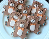 Decorated Baby Shower Cookies- Teddy Bear Cookies with Bow ties