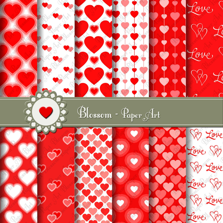 Papeles Decorativos Corazones Rojos Papeles para imprimir