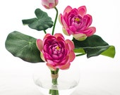 Real Touch Artificial Lotus Arrangement in Round Glass Vase with Artificial Faux Fuchsia Lotus Flowers for Home Decor