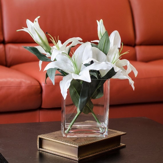Discounted real touch lily arrangement floral with white for Real plants for home decor
