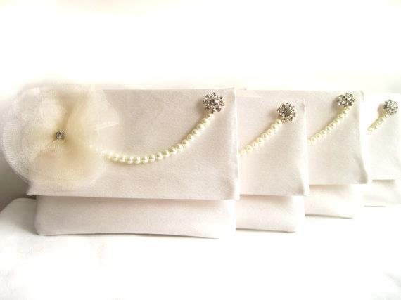 Ivory Satin Bridesmaid Clutch Set of 4