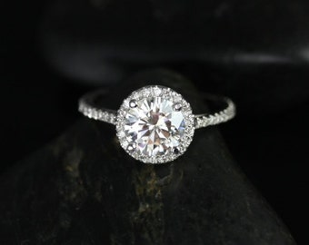 Rosados Box Kubian 7mm 14kt White Gold Round F1- Moissanite and Diamonds Halo Engagement Ring
