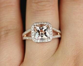 Rosados Box Diana 8mm 14kt Rose Gold Cushion Morganite and Diamonds Halo Split Shank Engagement Ring