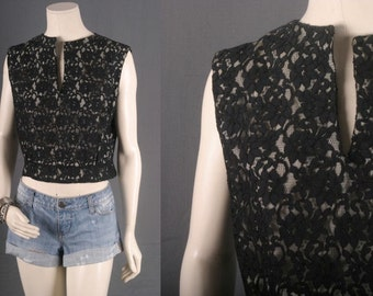 Top Blouse Lace cropped Vintage women size S small