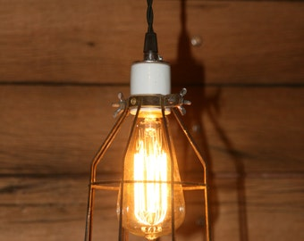 Industrial Hanging Pendant Light - Swag Light - with Vintage Style Wire Cage Guard - Hanging Lamp with Vintage Style Cloth Covered Cord