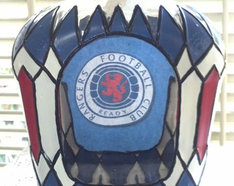 Scotland Rangers Soccer/FootBall Club Crown Royal Hand Painted upcycled glass bottle OOAK