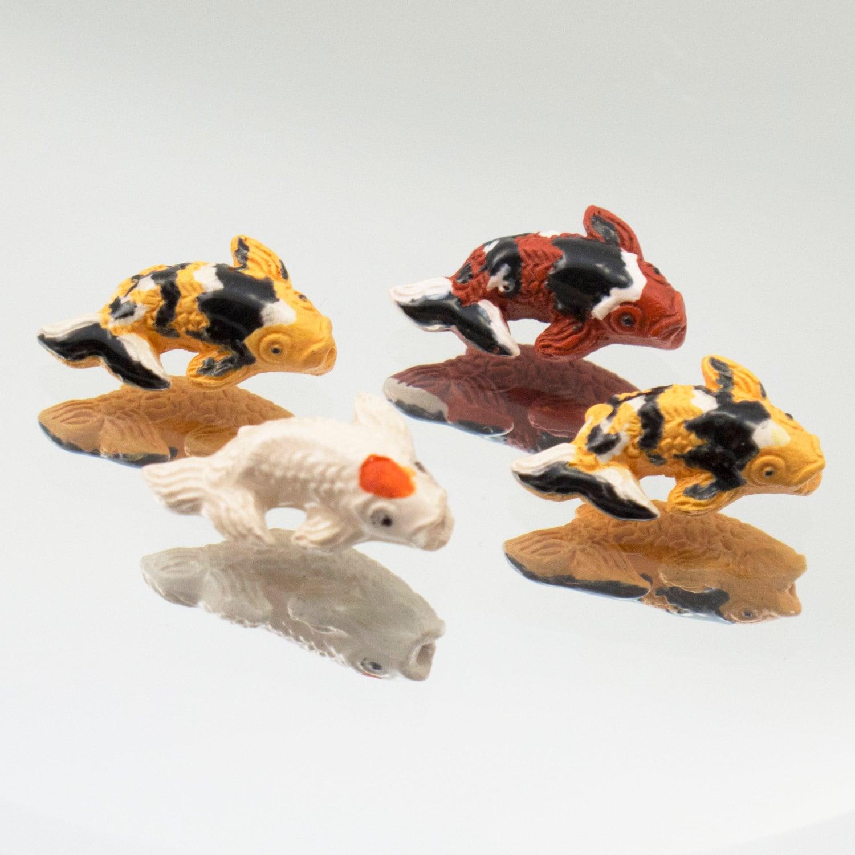 Ceramic tiny koi fish beads mixed colors set of 4 432 18 for Koi fish beads