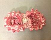Beautiful Shiny Light Pink Chic Flowers on a Headband with Rhinestone Embellishment , Infant to Adult