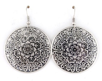 Vintage Feel Silver-tone Floral Plate Earrings,K6