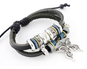 Cool Cottage Chic Black Leather Cord Bracelet with Butterfly/Beads Pendant