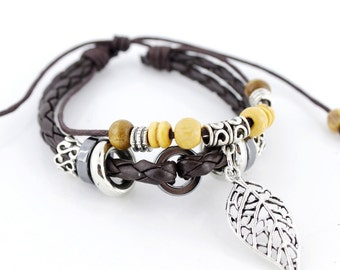 Cool Dark Brown Leather Cord Bracelet with Leaf Charm