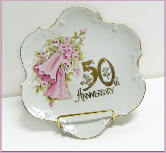 Antique Wedding Anniversary Gifts: Vintage Porcelain 50th Anniversary Gift Plate