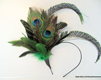 Peacock Fascinator- 1920s- Flapper- Derby- Tea Party- Gatsby Headpiece- Hair Accessories NYC- Handmade- Peacock Headpiece- Green Feather