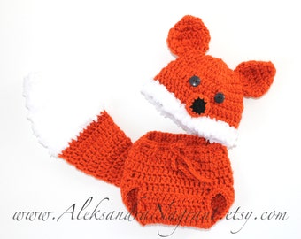 FOX BABY COSTUME -  Photo Prop  - Baby Hat and Diaper Cover - acrylic  - Made To Order