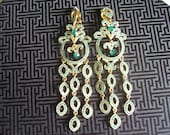 15% OFF SALE Vintage Green Turquoise  & Gold Tone Chandelier Statement Earrings, Gift,  Fwb, Vateam