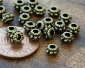 Spacer Beads, Antique Bronze, 5x3mm Daisy and Rope - 100 pcs - eTS004AB-5x3