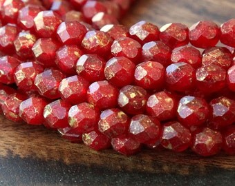 Marbled Gold Oxblood Czech Glass Beads, 6mm Faceted Round - 50 pcs - eGM91260-6