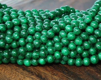 Mountain Jade Beads, Dark Green, 4mm Round - 16 Inch Strand - eMJR-G14-4