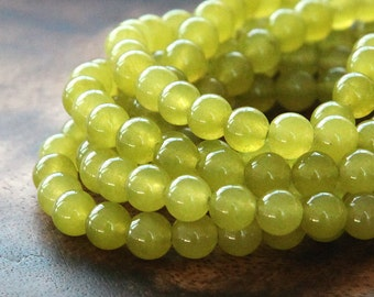 Dyed Jade Beads, Mustard Semi-Transparent, 6mm Round - 15 Inch Strand - eSJR-Y15-6