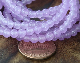 Dyed Jade Beads, Orchid Semi-Transparent, 4mm Round - 16 Inch Strand - ESJR-M07-4