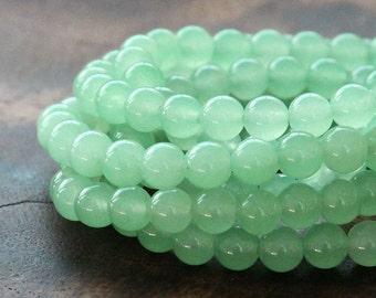 Dyed Jade Beads, Light Green Semi-Transparent, 6mm Round - 15 Inch Strand - eSJR-G21-6