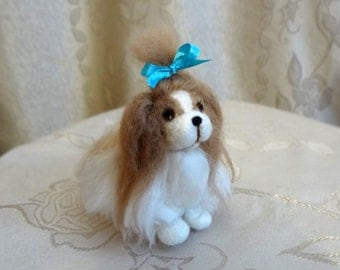 Needle Felted Small Shaggy Dog - Woolen Sculpture