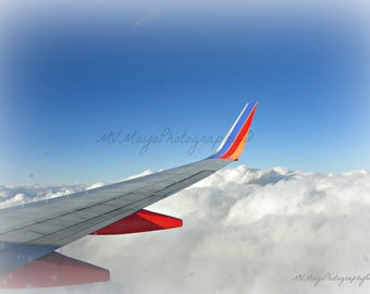 Aviation Photo / Clouds and Blue Sky / Photo Card / Air Travel / Free US Shipping / MVMayoPhotography