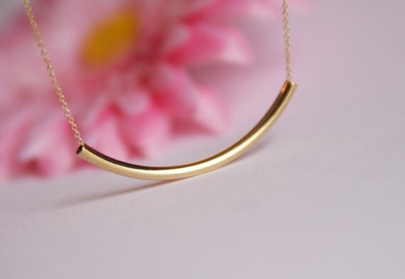 gold curved bar necklace, silver bar necklace,gold bar necklace, Valentine gift