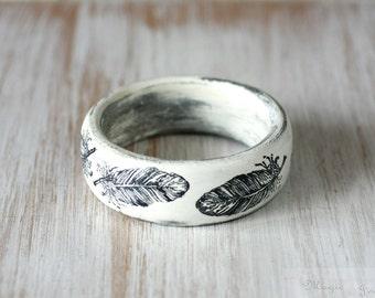 White Black Bangle, Eco Friendly  Bracelet , Wooden  Bangle,  Natural