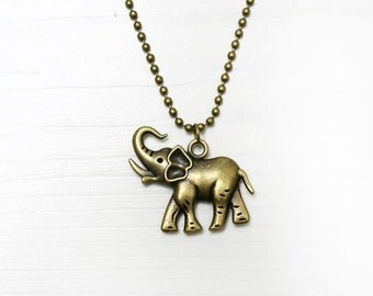 Elephant Bronze Necklace, Antique Brass Necklace, 10 inch (26 cm)