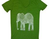 Paisley Elephant v neck Tshirt XXS, XS, S, M, L, XL womens alternative apparel 7 colors - FreeBirdCloth