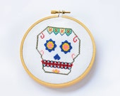 Mexican Skull -Mod. IV- Sugar Skull Pattern, Cross Stitch Pattern, Embroidery Pattern, Embroidery Hoop, Pattern PDF- Instant Download