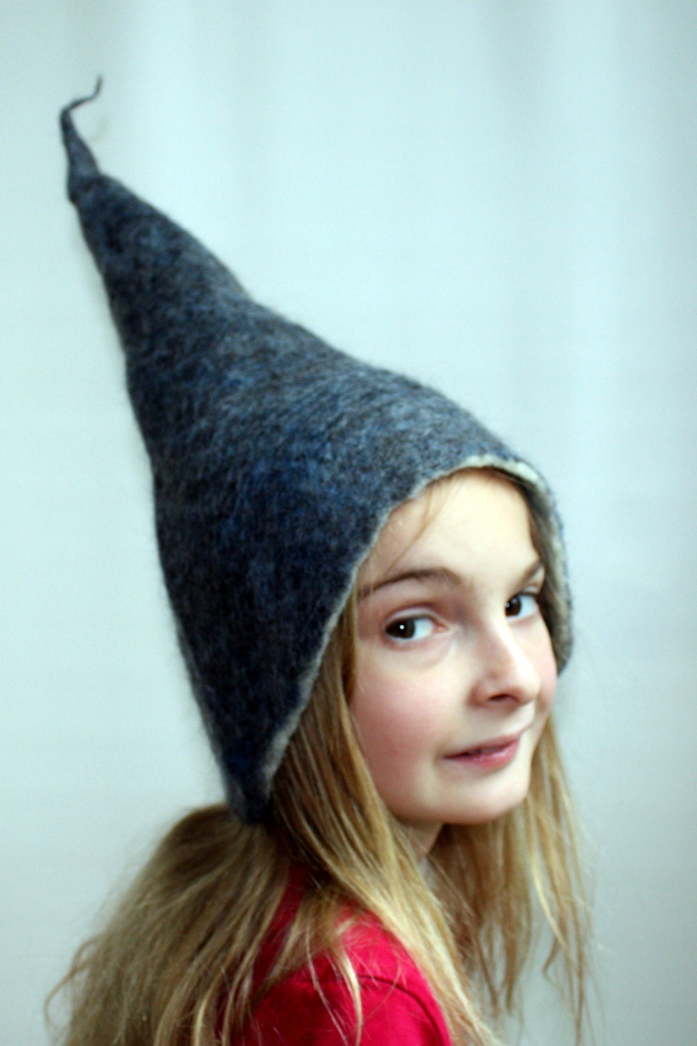 child hat blue wet felted wool hat felt hat elf gnome hat