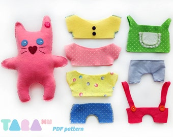 DIY Felt Pattern Cat with Clothes, Fabric Cat Toy, Maxi TaraCat,  Instant Download, DIY PDF Sewing Pattern, Felt Animal Tutorial, Template