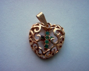 Vintage Gold Plated Filagree Heart Charm/ Pendant with Green Rhinestone Cross    # Y 4
