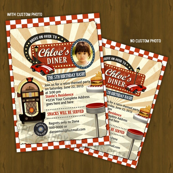 Vintage Retro Diner Invitation 1950 S By Splashboxprintables