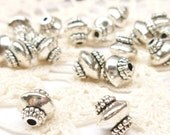 Ornate Saucer Bicone Spacer Beads, Antique Silver (10) - SF45