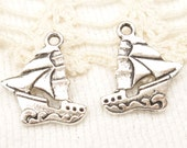 Sailboat with Waves Charms - Antique Silver (6) - S136