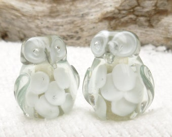 Adorable, Feathered Translucent Clear and White Lampwork Owl Beads (2)