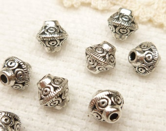 6mm Bicone Tribal Spacer Beads, Antique Silver (20) - SF52