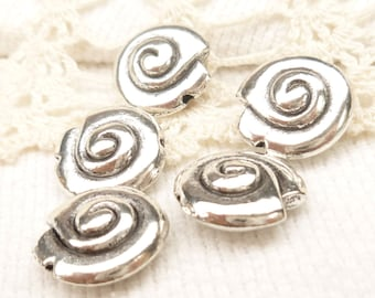 Snail Shell Spacer Bead, Antique Silver (6) - S140
