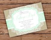 Burlap  & Lace Vintage Bridal Shower invitation