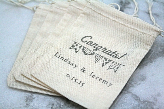 Personalized Wedding Favor Bags And Boxes : Personalized mini wedding favor bag. 50 muslin bags, 2x4, hand stamped ...