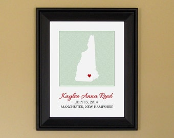 New Mommy Gift - Personalized Baby Name Art Print - Nursery Decor - Custom New Hampshire State Map - 11 x 14