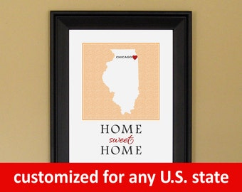 High School Graduation Gift - Going Away to College - Home Sweet Home - Home Is Where the Heart Is - Chicago Heart Map - 5x7 or 8x10