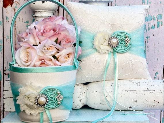 tiffany blue wedding flower girl basket